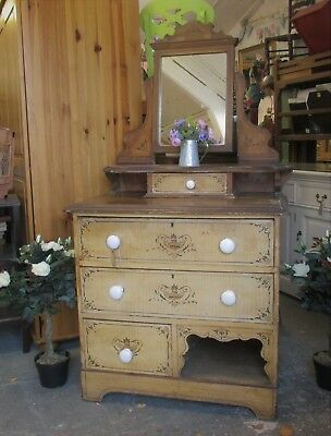 Painted Pine Victorian Dressing Table With Drawers And Mirror
