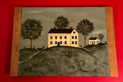 American Naive Primitive Folk Art Landscape with Houses Painting on Wood Signed