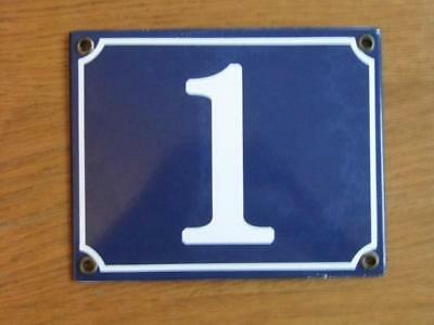 Large Good Quality Number 1 Blue Enamel French Antique Style Door Number Plate
