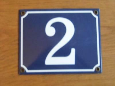 Large Good Quality Number 2 Blue Enamel French Antique Style Door Number Plate