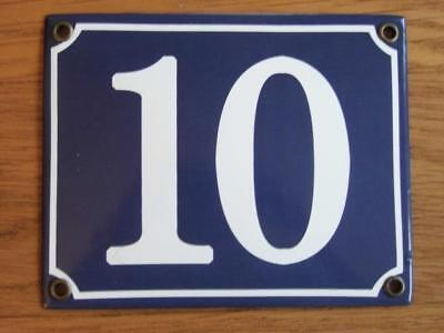 Large Good Quality Number 10 Blue Enamel French Antique Style Door Number Plate