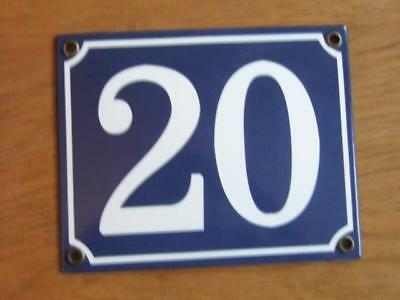 Large Good Quality Number 20 Blue Enamel French Antique Style Door Number Plate