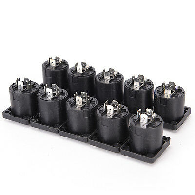 10pcs 4 Pin Speakon Female Jack Socket Connector Audio Loudspeaker AmplifierI PR