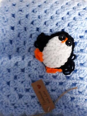 Hand Crocheted Baby Blanket In Blue With Penguin Decoration - #14