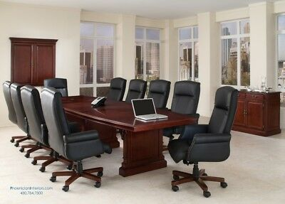 14 Foot TRADITIONAL Cherry and Walnut Wood Conference Table with Grommets