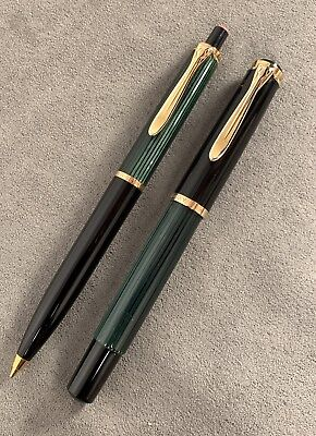 Pelikan 400 N Germany Fountain Pen and Pencil Green Striped