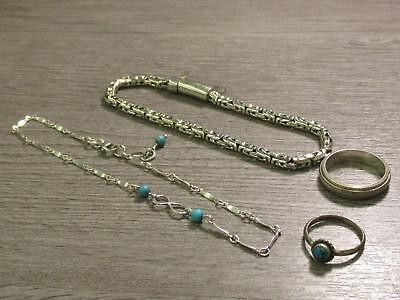 Sterling Silver Jewelry Lot Byzantine Chain Bracelet Turquoise Color Stone Ring