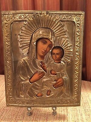 "Antique19c RUSSIAN ORTHODOX ICON ""Mother of God Tikhvinskaya"""