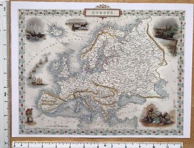 "Antique colour map 1800s: Europe: John Tallis 12"" X 9"" Reprint: Vinaigrette's"