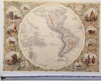 "Antique colour map 1800s: Western Hemisphere The World  Tallis 13"" X 9"" Reprint"