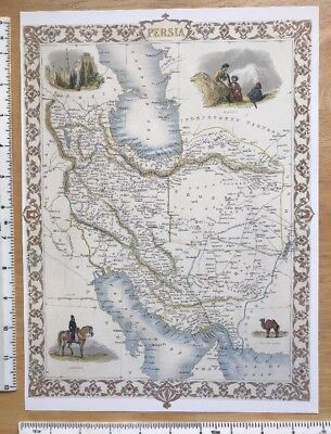 "Antique vintage colour map 1800s: Persia Tallis 12.5 X 9.5"" Reprint"