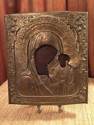 Antique Russian Orthodox Icon. Kazan Mother of God.