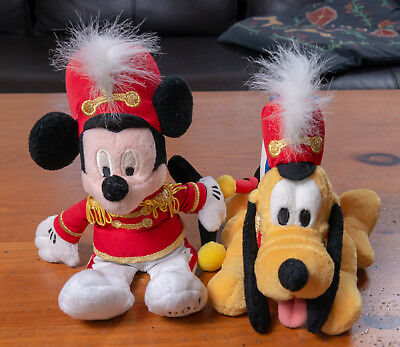 Disney Set of 2  - Mickey Mouse/Pluto - Marching Band 2000 Plush Dolls - NEW