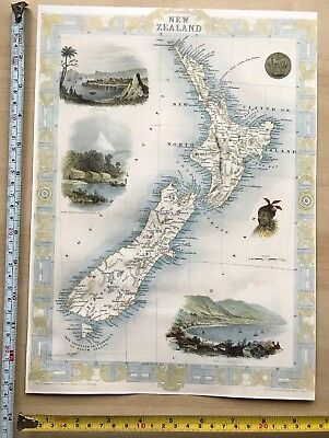 Old Antique vintage colour vignette map 1800s New Zealand Tallis Reprint
