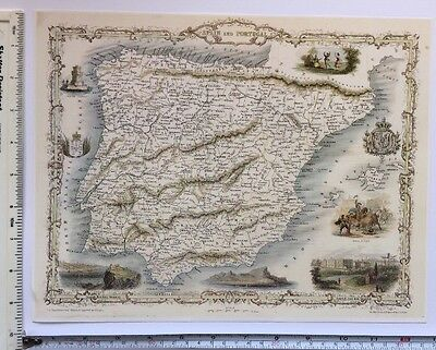 "Antique vintage colour map 1800s: Spain & Portugal: Tallis 13 X 9"" Reprint"