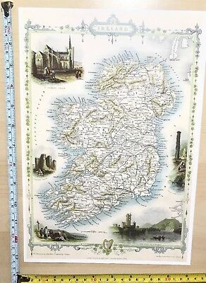 Old Antique vintage colour vignette map 1800s Ireland Tallis Reprint