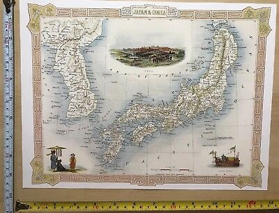 Old Antique vintage colour vignette map 1800s Japan, Nipan, Corea Tallis Reprint
