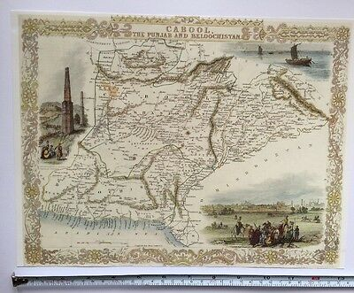 Antique vintage map 1800s: Cabool, Punjab: Tallis 13 X 9 Reprint 1851c