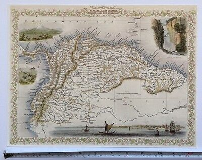 "Antique vintage colour map 1800s: Venezuela, Granada: Tallis 13 X 9"" Reprint"