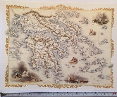 "Antique vintage colour map 1800s: Greece, Europe By John Tallis 12 X 9"" Reprint"