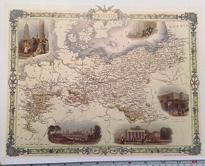 "Antique vintage colour map 1800s: Prussia By John Tallis 12 X 9"" Reprint c1851"