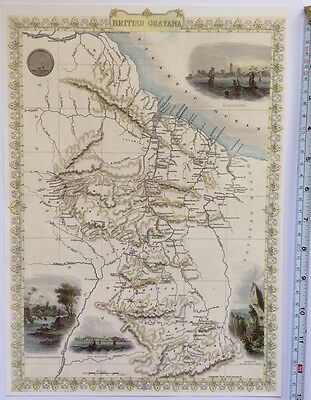 "Antique vintage colour map 1800s: British Guayana: John Tallis 13 X 9"" Reprint"