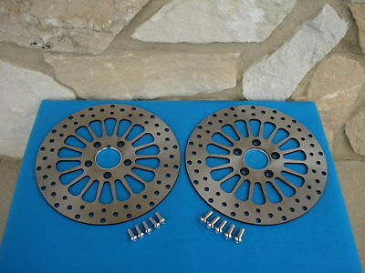 "11.8"" Satin Spoke Front & Rear Brake Rotor Pair Harley Bagger 08-Up Free Bolts"