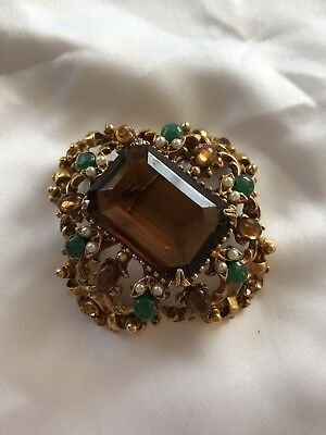 Vintage Florenza Large Faceted Glass Stone Brooch Pin/ Pendant