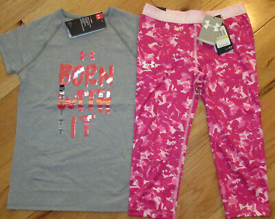 Under Armour Born With It top & camo cropped capris leggings NWT girls' M YMD