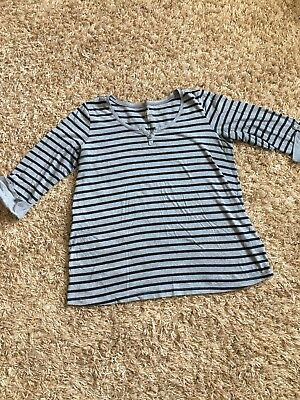 Duo Maternity Black and Gray stripes SizeL GUC Worn in 1 pregnancy 3/4 sleeve
