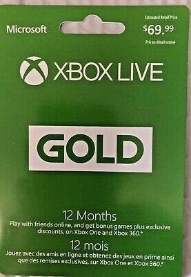 2 X Microsoft Xbox LIVE 12 Month Gold Membership Card for Xbox 360 / XBOX ONE