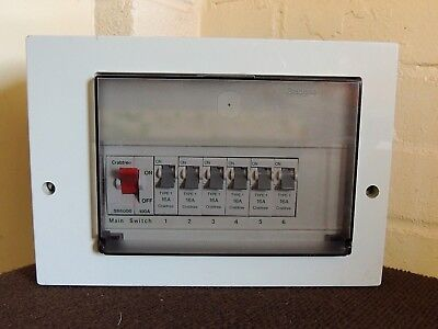 Crabtree Fuse  Board, Distributation Board, 6 Way, 100amp Switch, RCB, Complete,