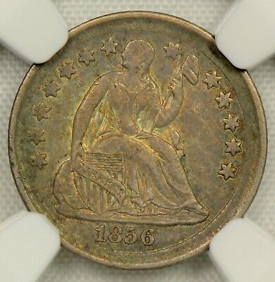 TONED NGC AU58 1856 SEATED LIBERTY HALF DIME  H10c   (BC05)
