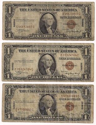Three (3) 1935 A $1 Hawaii Brown Seal Silver Certificates WWII Emergency Issue