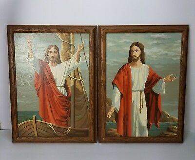 2 Paint By Number Framed Picture Jesus Christ Boat Sea Christianity