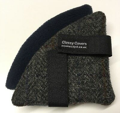 HARRIS TWEED Riding Hat Ear Muffs/warmers Charcoal Tweed  Navy Fleece Backs