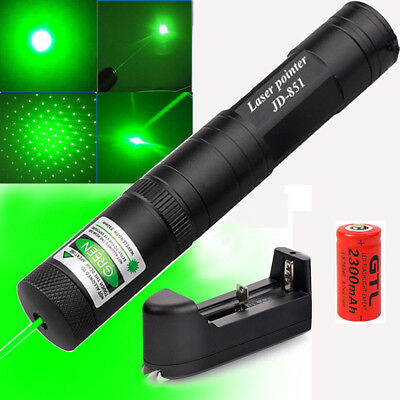 Powerful 1mw Green Laser Pointer Pen Lazer Light Visible Beam+Battery Charger UK