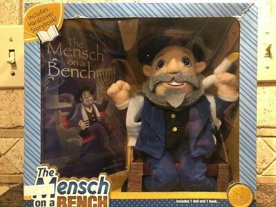 New The Mensch on a Bench Hanukkah Decor with Hardcover Book and Removable Bench
