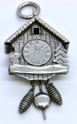 Vintage 800 Silver CHN Traditional German Cuckoo Clock Dangle Charm Pendant