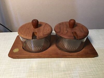 Luthje Mid Century Danish Teak Condiments Pot Set