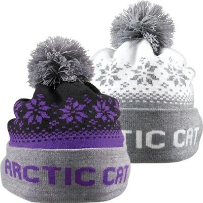Arctic Cat Nordic Knit Non-Fleece Warmth Breathable Acrylic Beanie - Purple Gray
