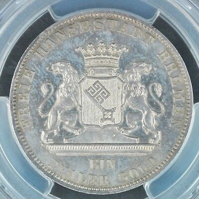 Thaler 1865-B PCGS MS66PL German States Bremen Shooting Prooflike Top Pop