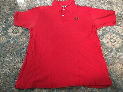 11f991b6a404 Chemise Lacoste Mens Red Short Sleeve Mesh Polo Shirt Sz 3 Large M