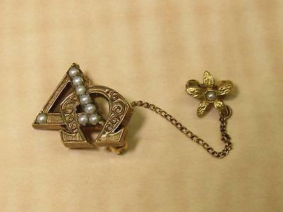 Unmarked Tested 10k Yellow Gold Vintage Delta Omega Pin Brooch Jewelry