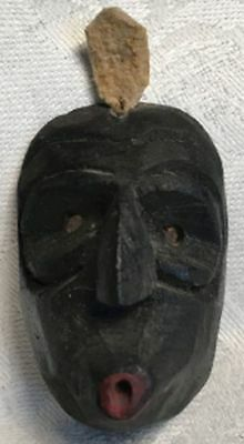 Iroquois Miniature Black Carved Wood Mask, 1 3/4  inch