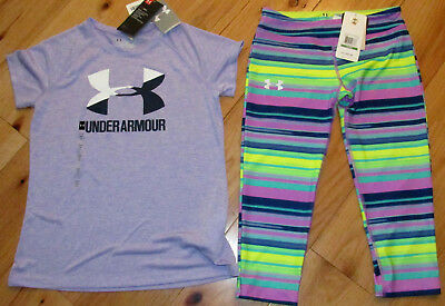 Under Armour lavender logo top & striped cropped leggings NWT girls' L YLG large