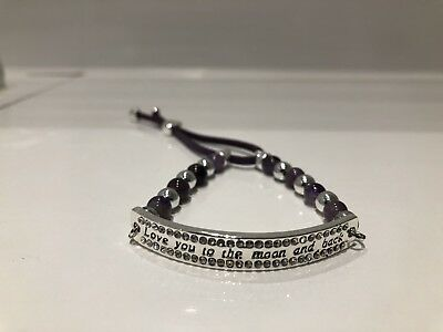 Equilibrium Ladies Girls Amethyst Moon Silver Plated Love You Bracelet Boxed