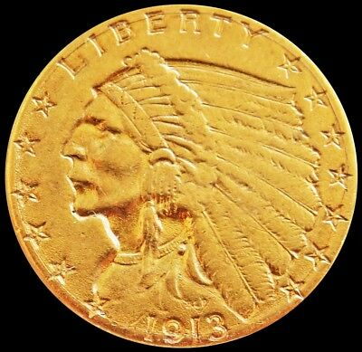 1913 Gold United States $2.5 Dollar Indian Head Quarter Eagle Coin