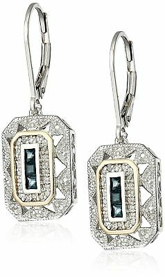 Earrings 9ct White Gold Blue Sapphire & Diamond Drop Dangle 35 mm Art Deco