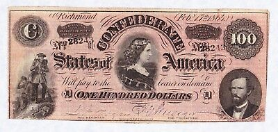 Civil War Confederate States of America One Hundred Dollars Lucy Pickens 1864